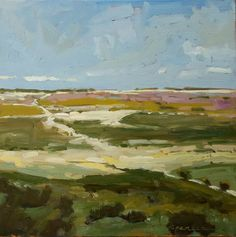 Texel Fields  Original Landscape Oil Painting  10 x by erinspencer