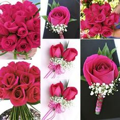 Match the boutonniere's and corsages to the bouquets to get a colour theme.