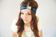 Tribal aztec head wrap - turquoise teal black green aqua - wide stretch headband with sequins knot