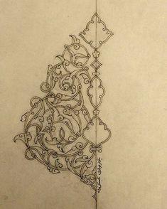 No photo description available. Islamic Art Pattern, Arabic Pattern, Pattern Art, Persian Pattern, Persian Motifs, Arabic Calligraphy Art, Arabic Art, Calligraphy Alphabet, Hand Embroidery Designs