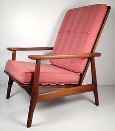 Vintage Mid Century Danish Modern Wood Lounge Chair - Retro Hi-Back