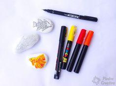 Rotuladores para pintar en piedras Diy, Painted Fish, Gatos, Manualidades, Bricolage, Do It Yourself, Homemade, Diys, Crafting