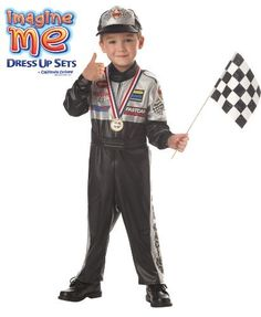 Racer Toddler Costume by California Costume Collections. $29.00. Includes Racer Jumpsuit, Hat, Flag, Award Ribbon, Race Cars, Track Mat, Booklet. This product is a 7PC Set. vinyl. Kids can enjoy a visit to the winner's circle as a race car driver with our toddler Racer Costume. It is the perfect pretend play dress-up solution for the NASCAR enthusiast of your home who has a need for speed. Our Make A Wish Racer Toddler Costume includes a racer jumpsuit, basebal...