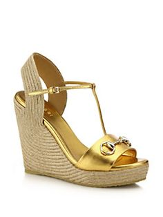 Gucci - Metallic Leather Horsebit Espadrille Wedge Sandals