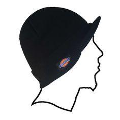 Dickies Billed Mens Double Knit Beanie Skull Cap Radar Hat Black One Size UNISEX