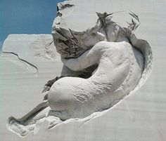 Sculptor Pascale Archambault chips away at huge blocks of marble and turns them into amazing works of art.