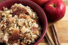 Slow cooker apple, cinnamon steel cut oatmeal. Make it at night and eat it in the morning.