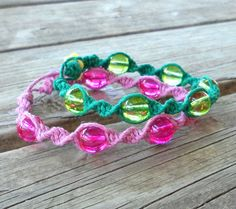 Neon Hemp Bracelets Pink and Green Bohemian Jewelry by 70x7song