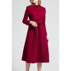 Skirted Wool Blend Coat with Belt - WINE RED 2XL