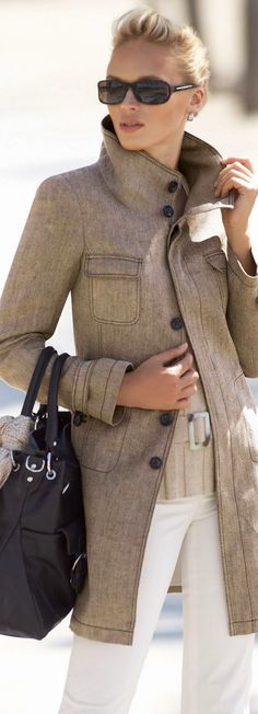 Women's fashion white pants and pretty elegant fall coat