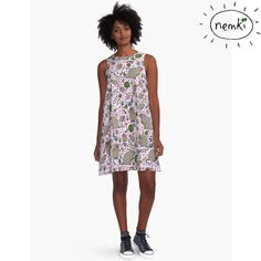 Quokka Patterned A-Line Dress Casual Flowing Fit by nemki on Etsy