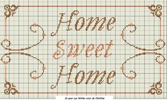 Home sweet home Cross Stitch Alphabet, Counted Cross Stitch Patterns, Cross Stitch Designs, Cross Stitch Embroidery, Cross Stitch Quotes, Cross Stitch Pictures, Sweet Home, Crotchet Patterns, Hand Embroidery Patterns