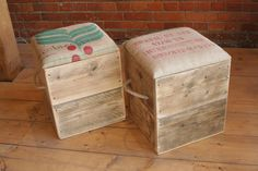 Reclaimed Pine Storage Seat/Footstool/Ottoman With Hessian Coffee Bag Lid | eBay