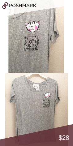 """•new• """"My Cat is Cuter Than Your Boyfriend"""" Top Great soft top! Perfect for every day wear. Slits in the sides. Approx measurements:  XS: Bust- 33"""", Length- 23.5"""" S: Bust- 34"""", Length- 24.5"""" M: Bust- 38"""", Length- 25"""" L: Bust 40"""", Length- 26""""   [BUNDLE] for 15% off!  ❌No trades, PayPal, Holds 📷Instagram: @lovelionessie Sadie & Sage Tops Tees - Short Sleeve"""