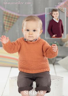 Sweaters in Sirdar Snuggly DK - Discover more Patterns by Sirdar at LoveKnitting. The world's largest range of knitting supplies - we stock patterns, yarn, needles and books from all of your favorite brands. Sirdar Knitting Patterns, Knitting Designs, Beginner Knitting Projects, Knitting For Kids, Crochet Baby, Knit Crochet, Boys Sweaters, Baby Patterns, Knitting Supplies