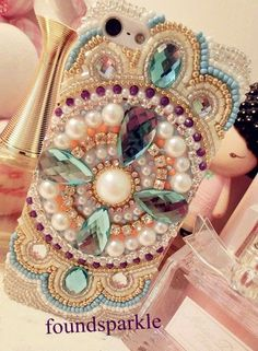 bling iphone 5c case Galaxy s5 case pearls phone 4 by foundsparkle, $23.99