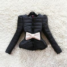 Hot Selling New Fashion Women's Winter Bow Puff Short Korean Laides Coat Jacket jacket With Belt B786