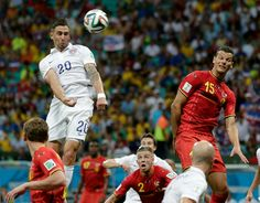 US midfielder/defender Geoff Cameron with a header (July 1, 2014).