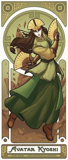 "swade-art: "" Avatar Kyoshi - Second in the ""Art Nouveau Avatars"" series. Check out Avatar Korra here! Avatar Aang, Avatar Airbender, Suki Avatar, Team Avatar, Larp, Zuko, Fanarts Anime, Manga Anime, Legend Of Aang"