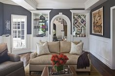 love the contrast from the wainscoting and paint color