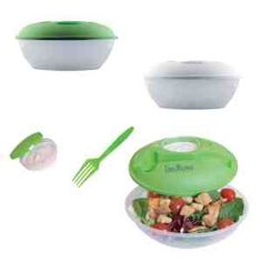 Salad Container. The Palmetto is designed for salads with its dressing container on top, but the bowl can be used for soups, stews, pastas and more. It includes a fork and dressing container that snaps securely onto the lid. The lid seals air-tight to keep food fresh. Starting at $2.89 each from Callard.
