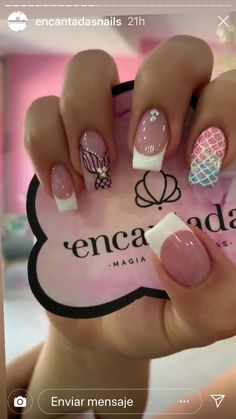 Purple Acrylic Nails, Summer Acrylic Nails, Blush Nails, Pink Nails, Cute Nails, Pretty Nails, Hair And Nails, My Nails, Tropical Nail Art