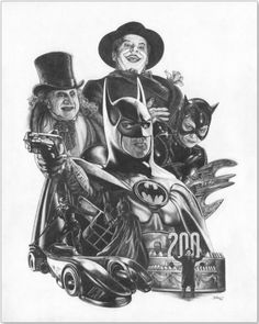 Batman 1989 --- A little something I put together to commemorate my being a fan of anything Batman! Click here to buy prints of this hand-colored pencil-drawn image: http://www.jwbartunlimited.com/collections/jwb-cinema-tv-collection/products/batman-1989