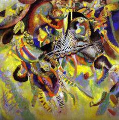"""""""Fugue"""" de Wassily Kandinsky : ami d'Arnold Schoenberg, ses tableaux sont souvent inspirés par la musique et établissent des liens entre musique atonale et peinture abstraite, associant des couleurs à des instruments (jaune = trompette, orange = alto, rouge = tuba...)."""