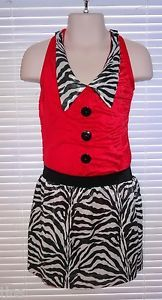 Starmaker Dance Costume Red Black White Zebra Jazz Tap 2 Pc Sz Medium Child ~ KR