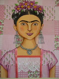 Frida (Fridita) em tecido rosa patchwork com bordado inglês e fita de cetim.........30x33 xm Ruiy Moura