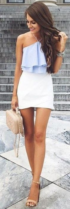 Women's fashion | Pastel blue peplum top with high waisted skirt