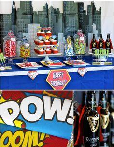 superhero birthday dessert table