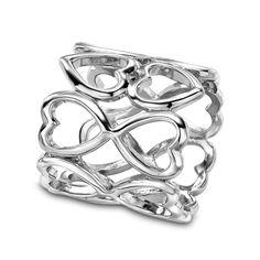 OKAJEWELRY Silk Scarf Jewelry Love Heart Scarf Buckle Slide Tube Ring Holder Silver Tone