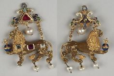 Pendant in the shape of the Palatinate lion, Germany, 1580-1590, Green Vault, gold, two rubies, two diamonds, four pearls, enamel, H 7.0 cm