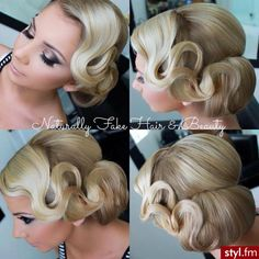 45 Glamorous Wedding updos for long and medium hair - Vintage, old Hollywood, retro waves and wrapped bun Dance Hairstyles, Retro Hairstyles, Wedding Hairstyles, Bridal Hair Updo, Wedding Hair And Makeup, Hair Makeup, Bridal Gown, Hair Wedding, Cabelo Ombre Hair