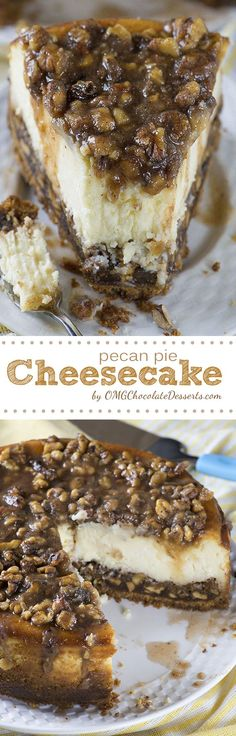 PECAN PIE CHEESECAKE!! My mom made this recipe last Christmas and it is so good, with or without the sauce on top!!! (Best Christmas Pies)