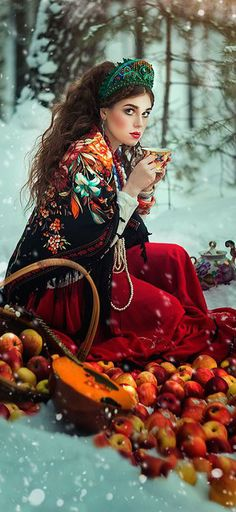 ♥ Margarita Kareva  Red apples falling out of the basket for a Red Riding Hood theme