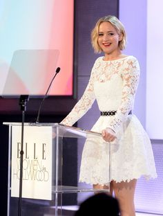 Year in celeb photos 2014: Jennifer Lawrence speaks onstage at Elle's 21st annual Women in Hollywood Awards in Los Angeles on Oct. 20, 2014.