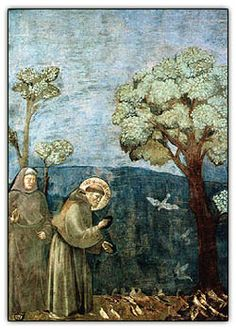 st. francis preaching to the birds. giotto. 1297-1299.