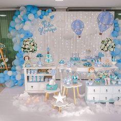 Festa linda por ・・・ Sabe aquela festa que te - mamae_e_juju Baby Shower Decorations For Boys, Baby Shower Themes, Baby Boy Shower, Baby Showers, Baby Shower Parties, Balloon Decorations, Birthday Decorations, Balloon Birthday Themes, Baby Boy Christening