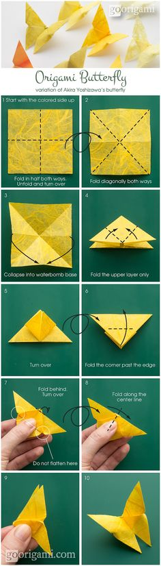 Origami butterfly... i had a vision of a purple beadspread with real yellow butterflies fluttering about and landing on it.  i would love to make these as a reminder.