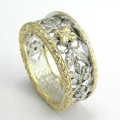 14k Two-Tone Gold Filigree Ring