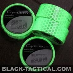 Cyalume - Cyflect: Reflective industrial products can be seen through smoke and fog and retain their reflective properties when wet. CYFLECT is a visibility enhancing material that is both reflective and photoluminescent. It's made of lightweight, flexible vinyl that reflects white in the light and glows bright green in total darkness. Comes in 1.5 inch width -- Length 5 Feet