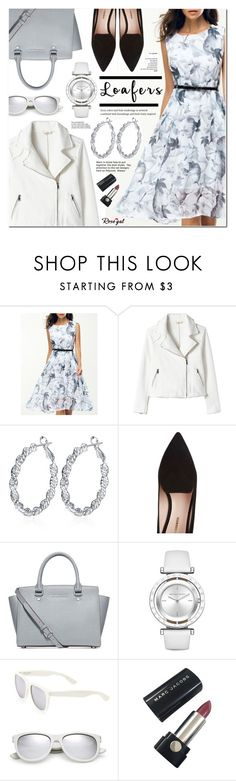 """Fall Footwear Trend: Loafers - Moto Jacket & Dress - Rosegal 14"" by anyasdesigns ❤ liked on Polyvore featuring Nicholas Kirkwood, Michael Kors, Yves Saint Laurent, Marc Jacobs and rosegal"