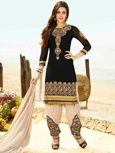 USD 35.77 Black Georgette Punjabi Suit 48032