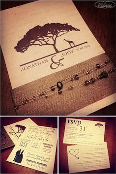 African themed wedding invitations using earthy tones and beaded wire Shirley Va… African Wedding Theme, African Theme, Wedding Themes, Wedding Ideas, Wedding Candy, African Safari, African Style, Wedding Stuff, Wedding Decorations