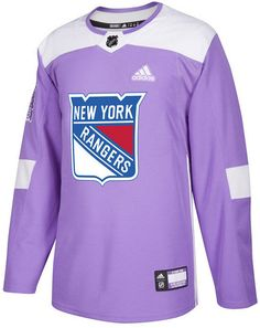 7bd813862 adidas Men s New York Rangers Authentic Hockey Fights Cancer Jersey -  Purple M