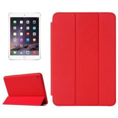 For+iPad+mini+4+Red+Solid+Color+Leather+Case+with+Holder+&+Sleep/Wake-up+Function