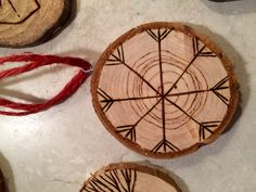 Christmas wood coins Ornaments by sarahjewettart on Etsy https://www.etsy.com/listing/251515322/christmas-wood-coins-ornaments