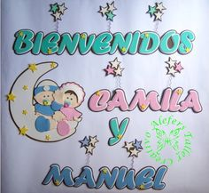 Banner (letrero) en foami, gemelos...=) Baby Shower, Prints, Twins, Stall Signs, Bedroom, Manualidades, Babyshower, Printmaking, Baby Showers